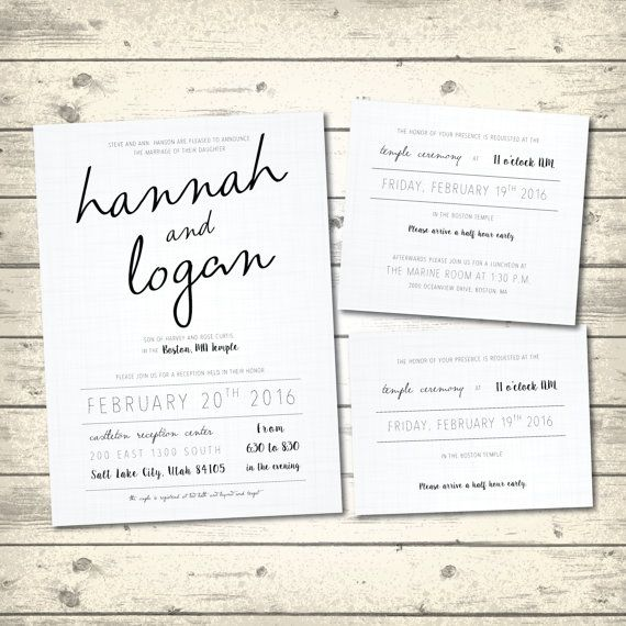 Simple Rustic Wedding Invitation, Linen White Wedding Invite, Wedding Invitation Package, LDS Wedding Invite with Inserts, Digital Printable