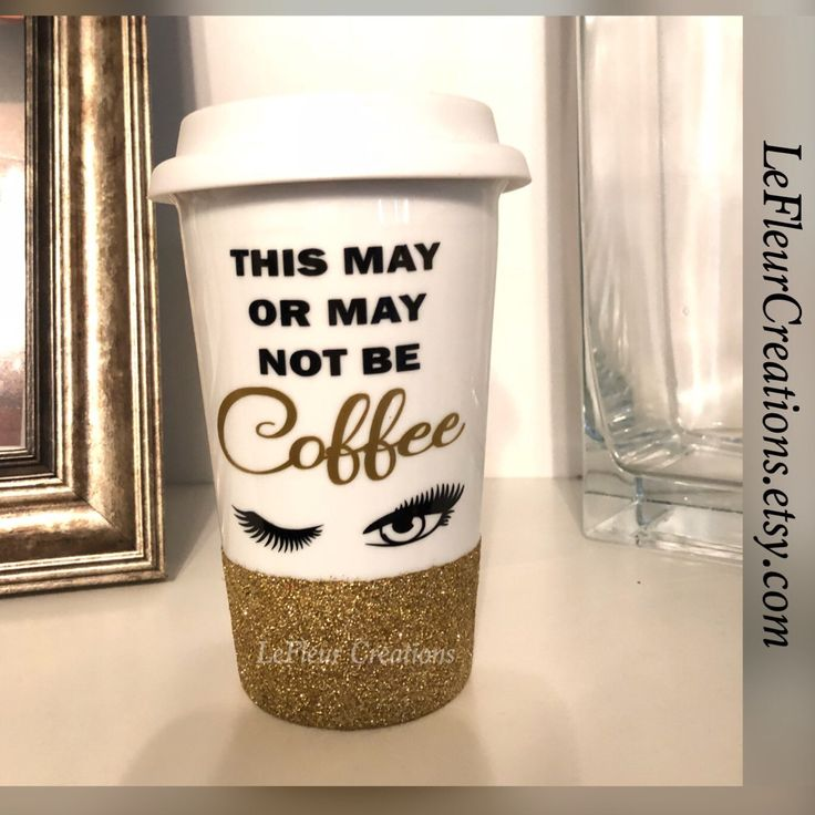 Sassy coffee mug with glitter and custom phrase  This may, or may not be coffee  Eyelashes/Makeup  LeFleurCreations.etsy.com