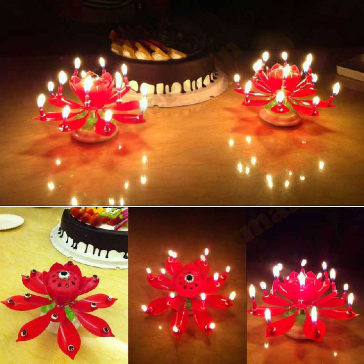 2PCS 2016 New Red Rotatable Beautiful Musical Blossom Lotus 14 Flowers happy Birthday Candle Hot Sale