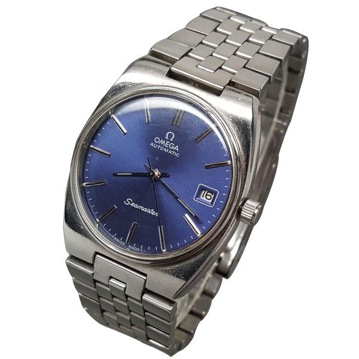 1980 Omega Seamaster Automatic Date Watch Blue Dial Caliber 1012 w/ Bracelet
