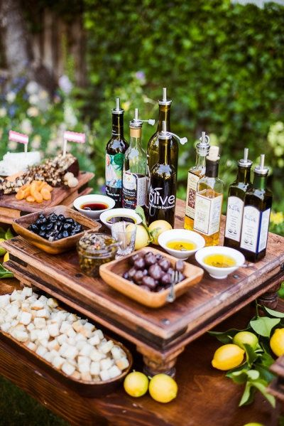 This is fun for additional finger foods  Rustic italian wedding Bread/olive oil appetizer table platters | Tuscan-Themed Wedding Ideas