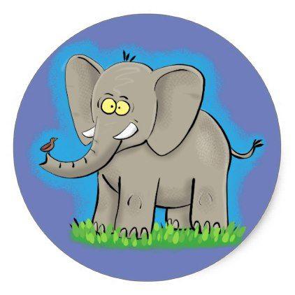 #Cute funny elephant with bird design classic round sticker - customized designs custom gift ideas