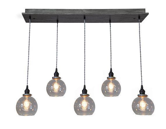 Globe Pendant Chandelier With Edison Bulbs