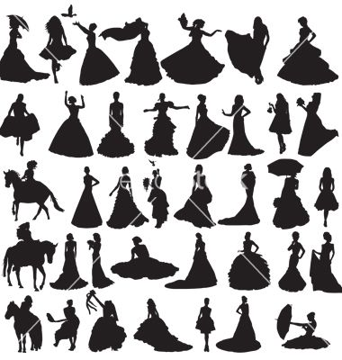 Many silhouettes of brides in different situations vector 880902 - by roman4 on VectorStock®
