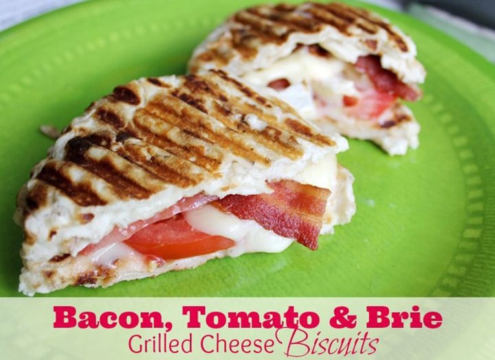 Grilled Brie And Goat Cheese Sandwich With Bacon And Green Tomato ...