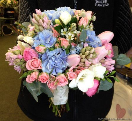 Pink and Blue Semi Wild Informal Wedding Flowers Hand-Tied Bridal Bouquet with Hydrangea, Ranunculus, Freesia, Muscari, Tulips and Spray Roses | Wedding Flowers Liverpool, Merseyside, Bridal Florist, Booker Flowers and Gifts, Booker Weddings
