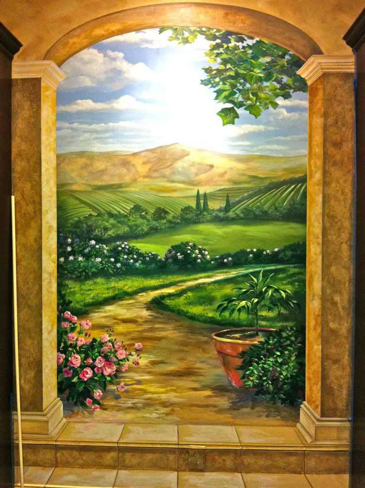 Tromp Lu0027oeil Mural Remodel With Painted Stairs! The Basement Really Opens  Up! Faux PaintingGarden WallsPainting ...
