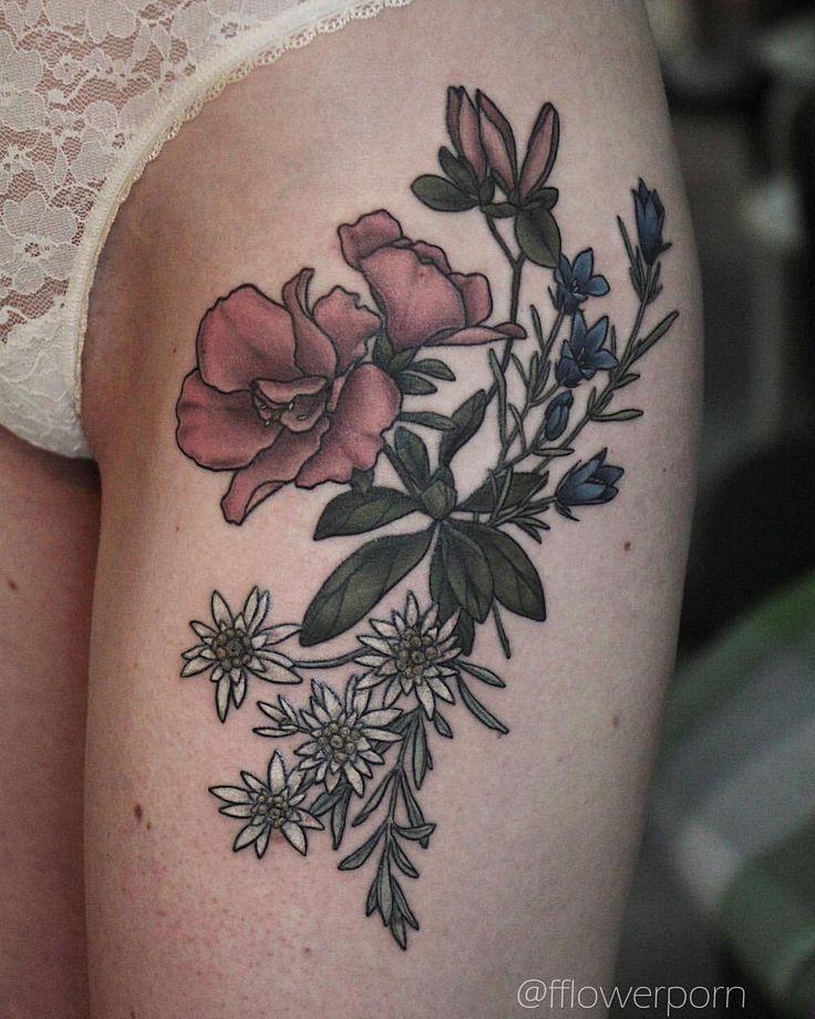 "4,328 Likes, 10 Comments - Olga Nekrasova (@fflowerporn) on Instagram: ""Azalea, gentian and edelweiss #tattoo #botanicaltattoo #flowertattoo"""