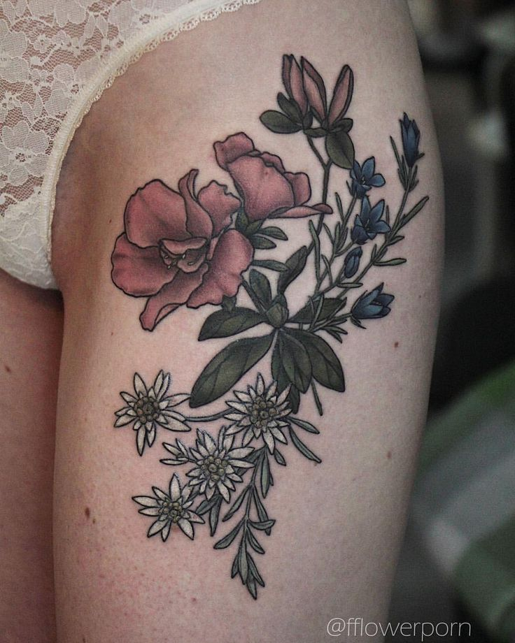 "4,328 Likes, 10 Comments - Olga Nekrasova (@fflowerporn) on Instagram: ""Azalea, gentian and edelweiss #tattoo #botanicaltattoo #flowertattoo"""