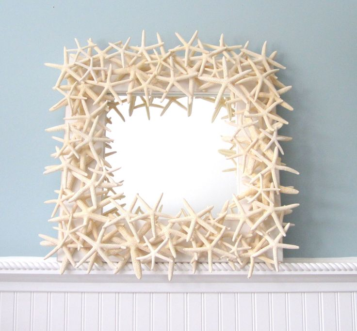 Beach Decor Starfish Mirror, Nautical Decor Starfish Wall Mirror, Seashell Wall Mirror, White Starfish Mirror, Seashell Mirror  #SFM18 by beachgrasscottage on Etsy https://www.etsy.com/listing/51323780/beach-decor-starfish-mirror-nautical