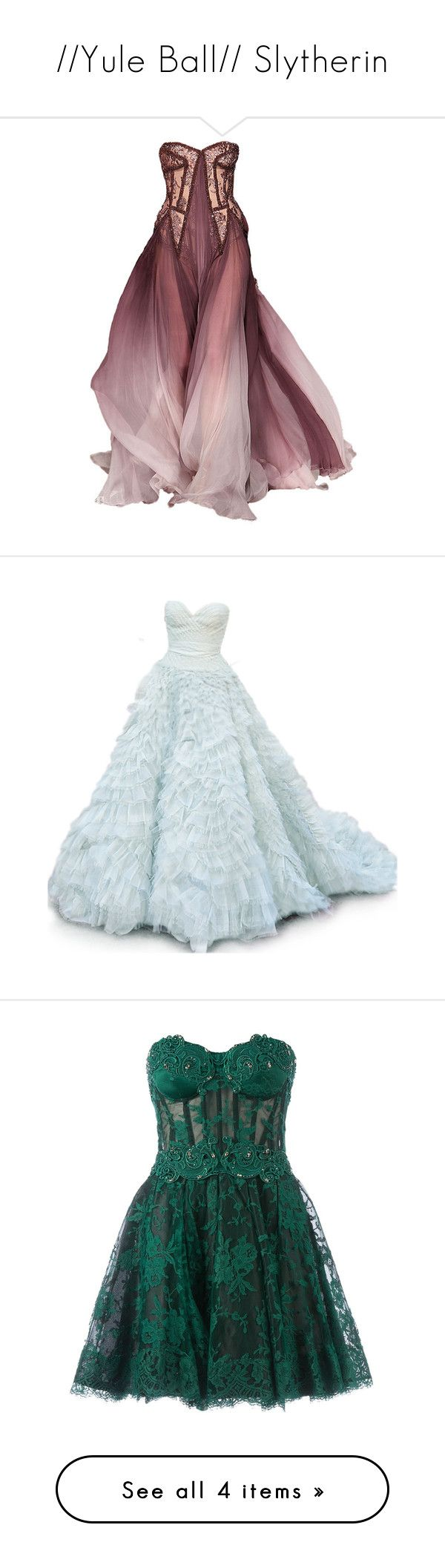 """""""//Yule Ball// Slytherin"""" by jmcunningham ❤ liked on Polyvore featuring dresses, gowns, long dresses, vestidos, oscar de la renta gowns, blue ball gown, oscar de la renta, blue gown, short dresses and green"""