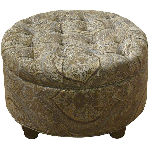 Roslyn Tufted Round Storage Ottoman ($150) ❤ Liked On Polyvore Featuring  Home, Furniture