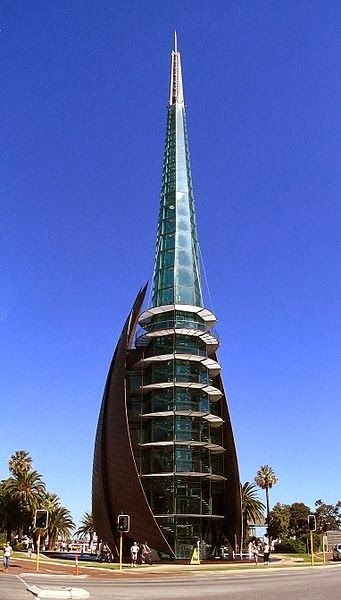 Bell Tower - Perth, Australia - Yes, alas, this $40,000,000 eye sore is blighting the landscape in my hometown. However, it'll soon be overshadowed by the appalling Elizabeth Quay. Farewell lovely Perth Esplanade.