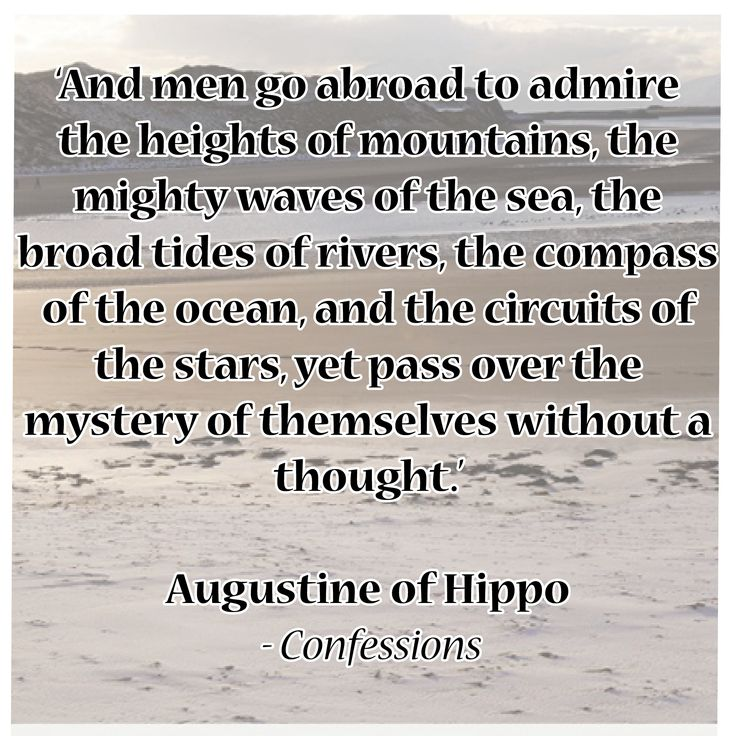 'And men go abroad to admire the heights of mountains, the mighty waves of the sea, the broad tides of rivers, the compass of the ocean, and the circuits of the stars, yet pass over the mystery of themselves without a thought.'  Augustine of Hippo - Confessions