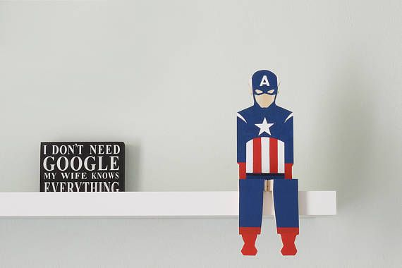 Captain America Figurine Popular Character Shelf Decor Marvel Comics Superhero Wooden Decoration
