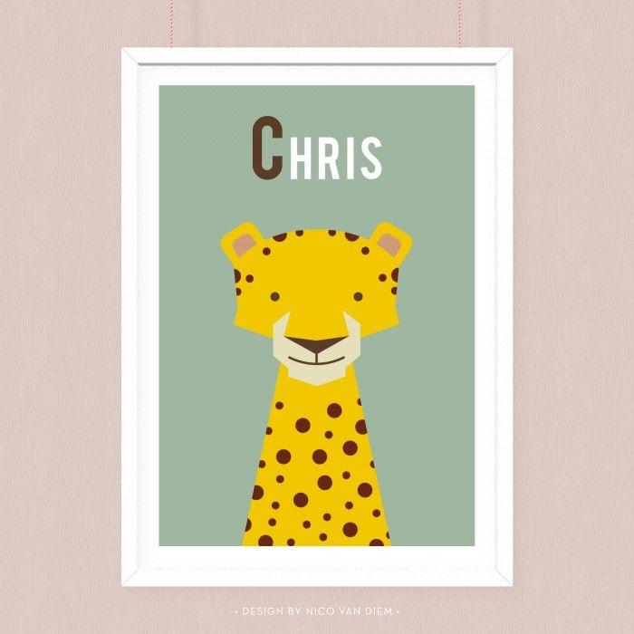 Poster Cheetah met eigen naam