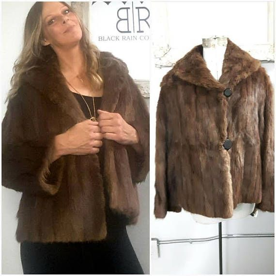 Vintage Muskrat fur Cropped Swing coat