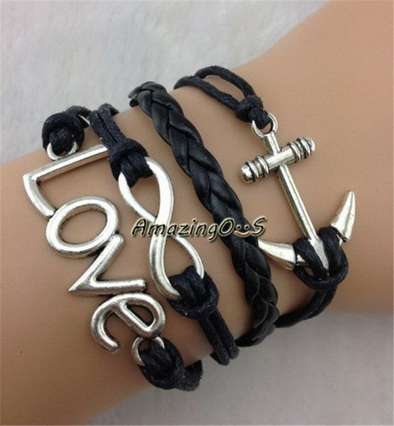 Antique Silvery Infinity Anchor Love Bracelet Handmade Black Leather Braid Wax Rope Bangle Punk Style Charm Jewerly BR011 on Etsy, $3.99