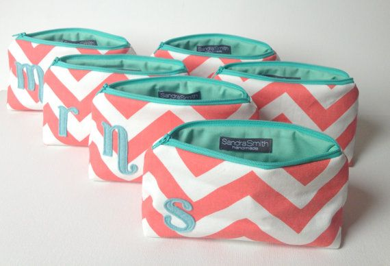 """Bridal Set of Six 7"""" Personalized Bags - Mint Aqua & Coral Chevron, Wedding Party Gift, Bridesmaids Cosmetic Clutch Favor"""