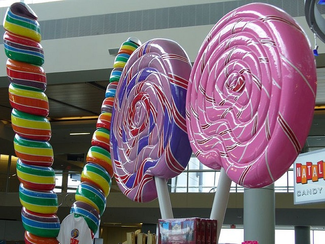 Giant lollipops in Terminal D at Dallas Fort Worth International Airport.  Beautiful inspiration!