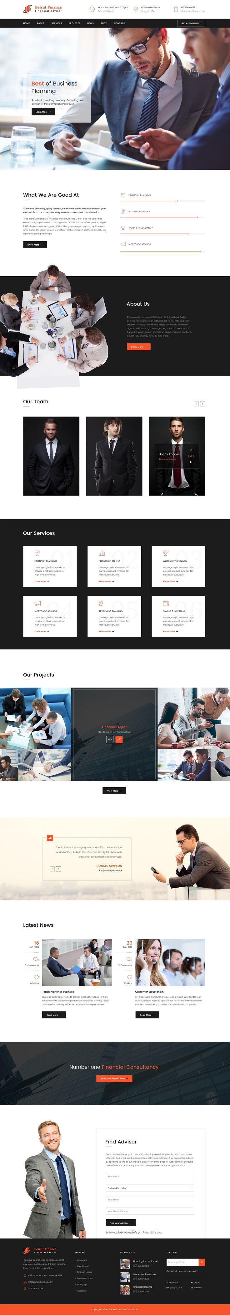 Beirut is wonderful premium #PSD #Template suitable for all types of Finance #business website with 3 homepage layouts and 17 PSD pages download now➝ https://themeforest.net/item/beirut-finance-psd-template/16862815?ref=Datasata