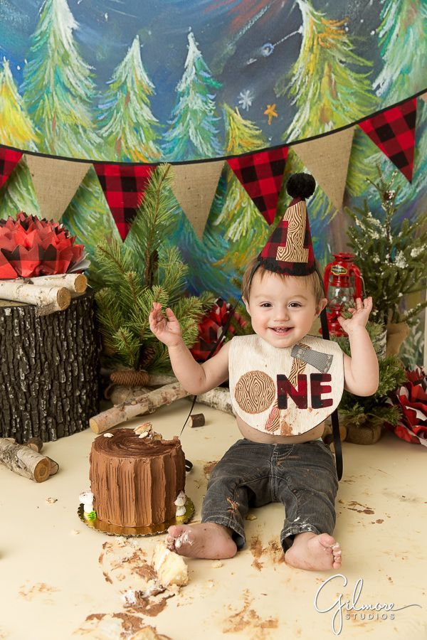 One Year Old Boy Smashing His Lumberjack Cake First Birthday Theme Party Beard