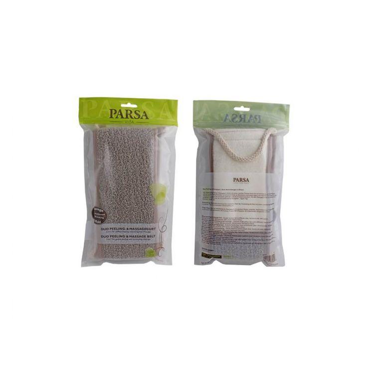 Σφουγγάρι πλάτης μαλακό, βαμβακερό, Parsa Μασάζ & πίλινγκ σε 1 Πετσετέ ύφασμα και κορδόνια. Παρέχει βαθύ καθαρισμό και τονωτική επίδραση στο δέρμα. Αφαιρεί τα νεκρά κύτταρα και ανοίγει τους πόρους του δέρματος για ακόμα καλύτερη κυκλοφορία του αίματος.  Φέρτε την πολυτέλεια ενός S