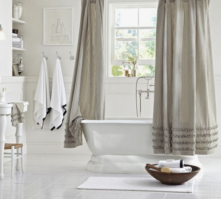 Ruffled Ticking Shower Curtain   Home Decorating Trends   Homedit