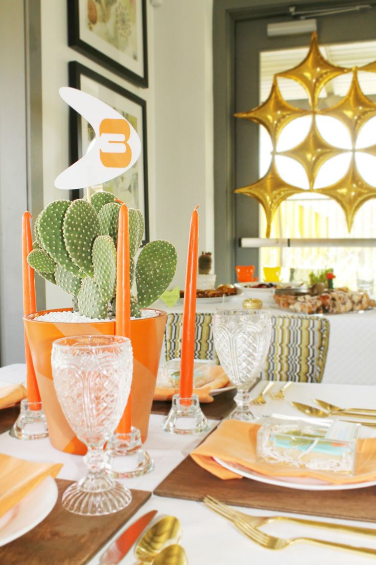 Modern Baby Shower Centerpieces With Vintage Water Goblets From Lovelyfest  | Lovelyfest Event Design | Midcentury