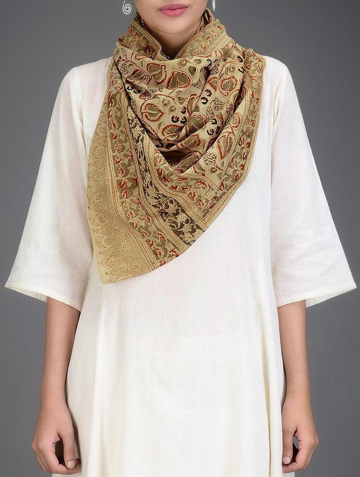Buy Beige Multicolor Kalamkari Printed Cotton Stole Scarves & Stoles Online at Jaypore.com