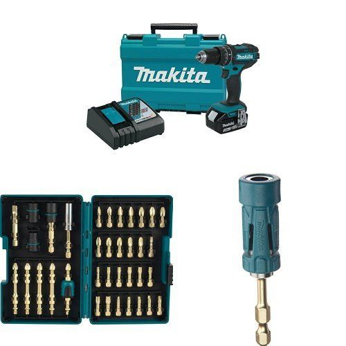"""Makita XPH102 18V LXT Lithium Ion Cordless 1 2"""" Hammer Driver Drill Kit 3.0Ah with Impact GOLD 26 Piece Torsion Insert Bit Set and Ultra Magnetic Holder"""