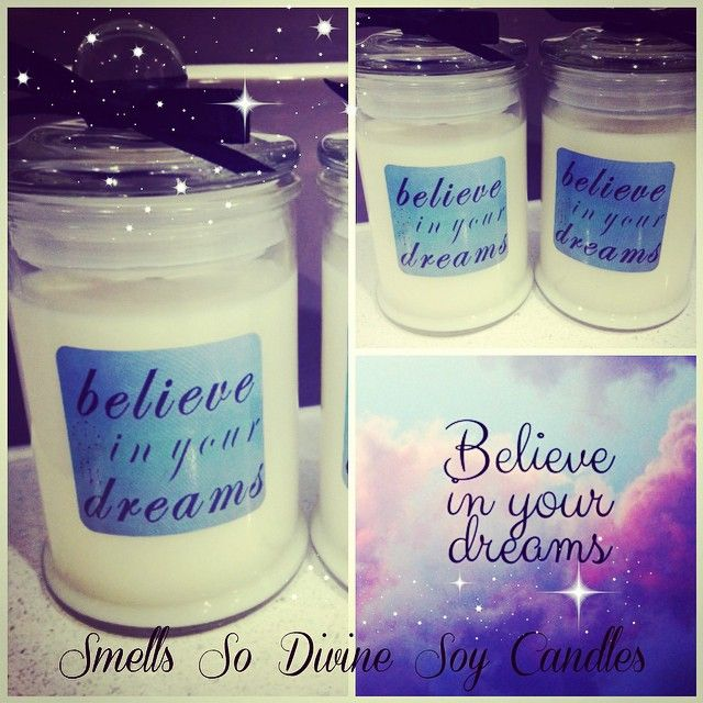 #motivational #quote #candles #personalised for a customer for #christmasgifts #love #believeinyourdreams 20 #strawberry #vanilla #punch scented #cute #gifts