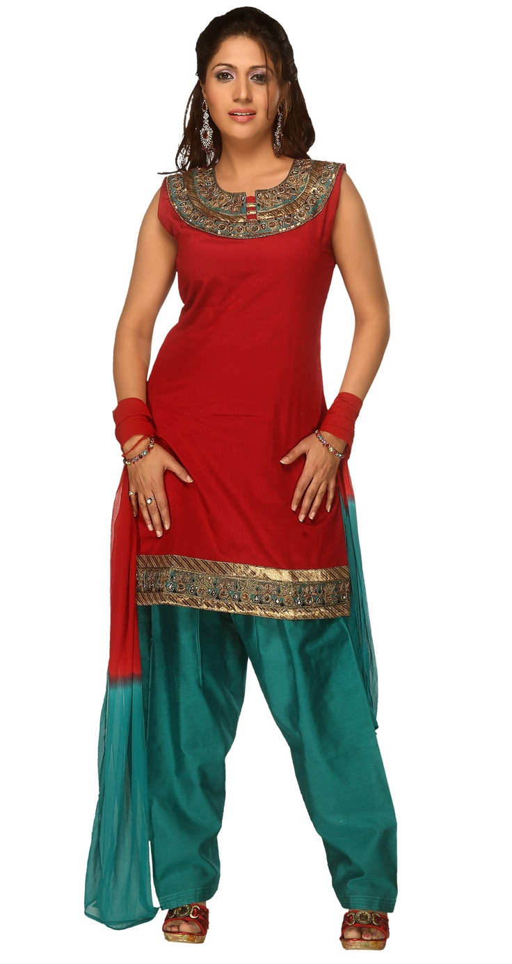 Faux silk kurta salwar, great color combo