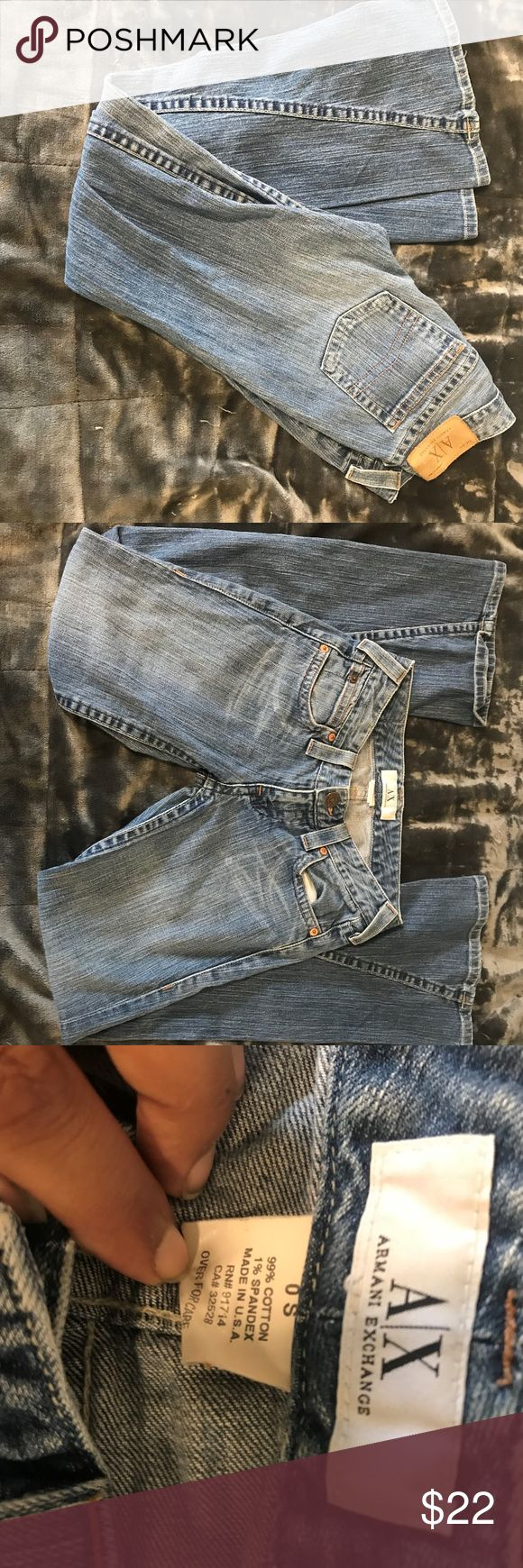 Armani Exchange Women 0s Light Wash Blue Jeans The jeans are in really good condition. They are a cotton blend and a light wash. The seam of the pants are 30in and the waist of them are 26in. Armani Exchange Jeans Boot Cut
