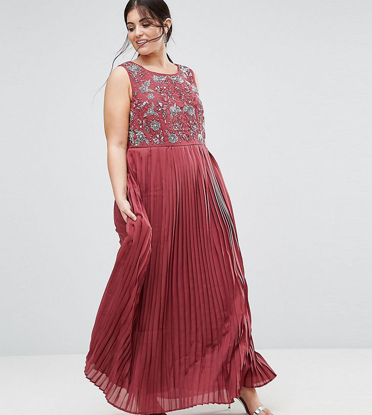 Lovedrobe Luxe Hand Embellished Pleated Maxi Dress - Pink