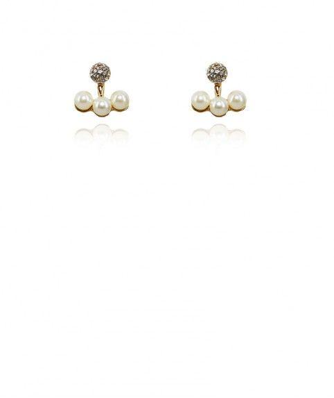 Boucles oreilles clips 3 perles balancier mariage