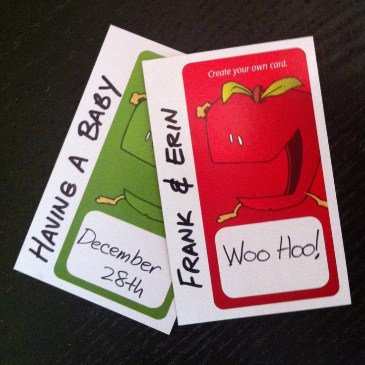 Apples to Apples birth announcement.  Use your blank cards!