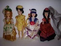 1960's Antique DOLL LOT Vintage Old Figure Figurine Girls FANCY DRESS HATS SKIRT