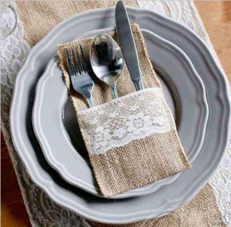 Ensemble de 10 pochette toile de jute et dentelle pour argenterie ou couverts, Jute naturel, porte couteau et fourchette