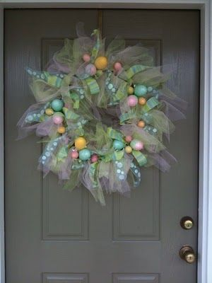Easter wreath--tulle, ribbons, and eggs