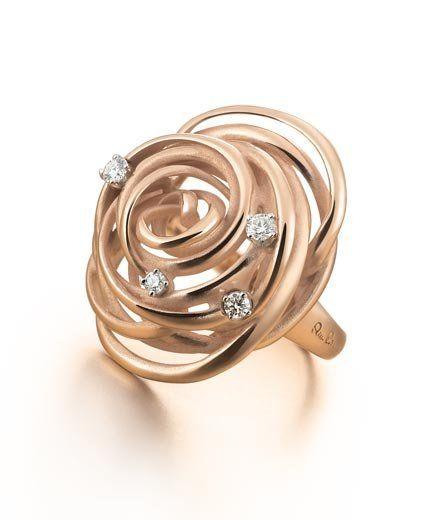 Collezione Cocoon: anello in oro arancio con brillanti