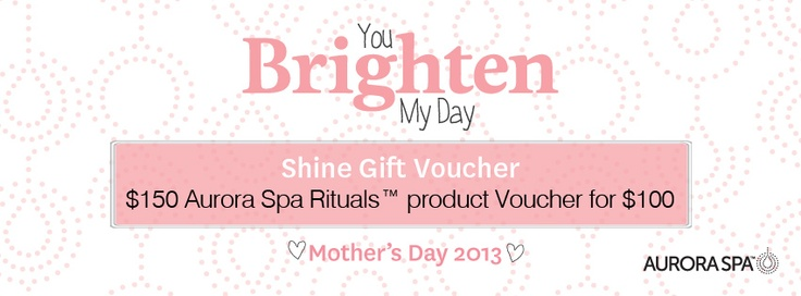 Aurora Spa Rituals product vouchers. Perfect for Mother's Day.