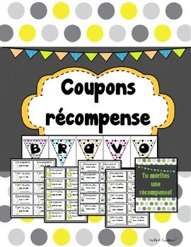 Coupons récompense pour la classe (French reward coupons)