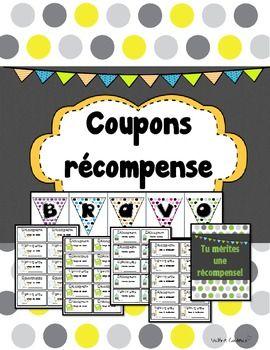Coupons récompense pour la classe (French reward coupons)
