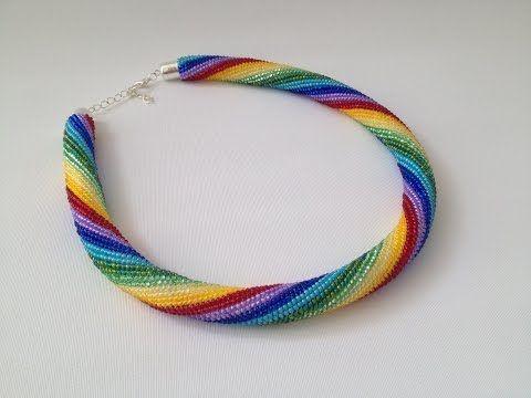 Háčkovaná dutinka s korálky - krátký sloupek - YouTube  NOTICE the start with a double row of single crochet. Also the exact placement of the crochet hook (between beads) when making the stitch.