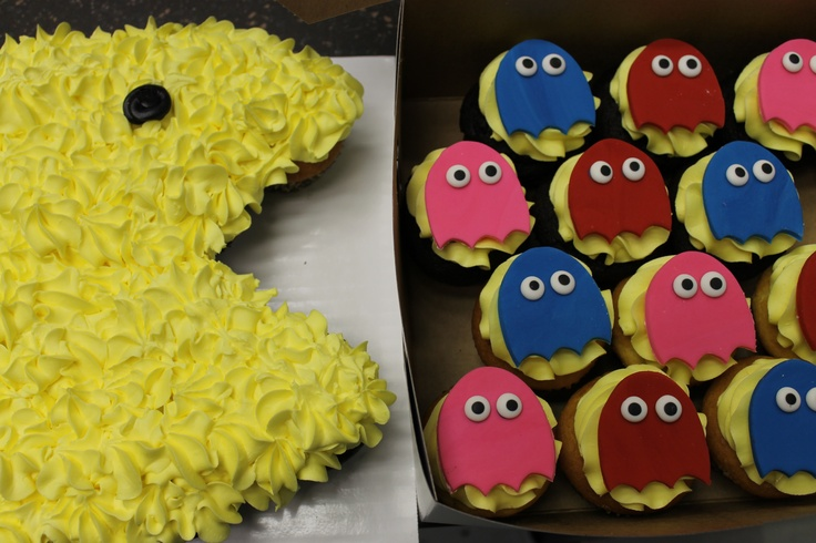 Pac Man Pull a part Cupcake Cake Man Ghost Cupcakes