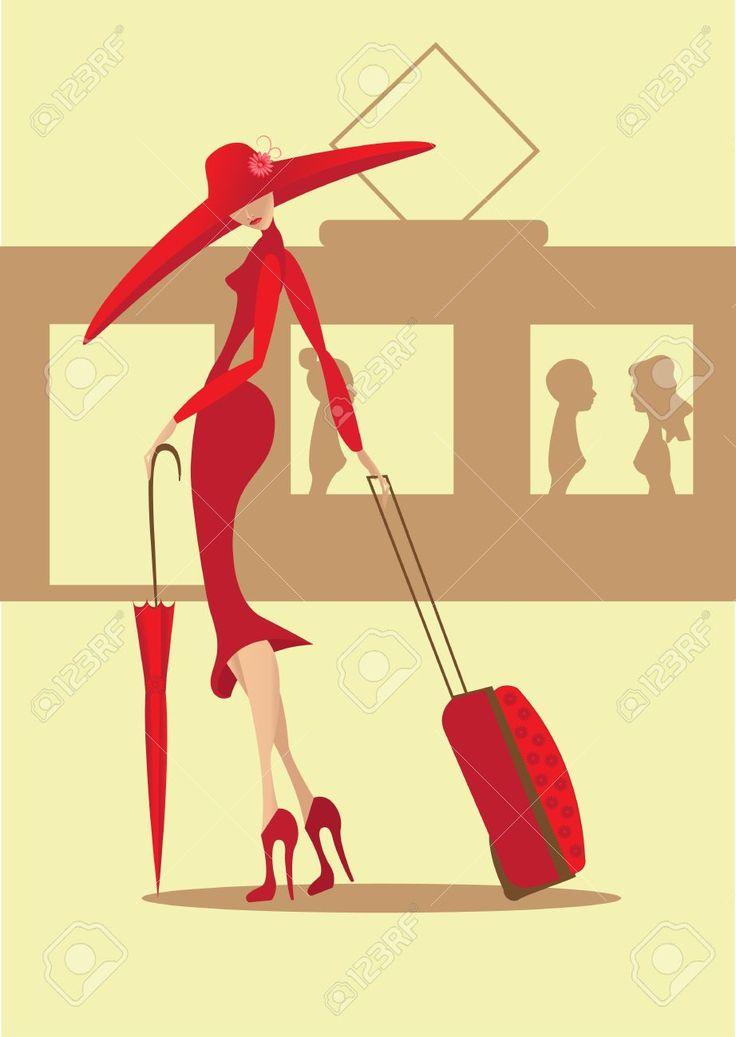 mujer maleta vector - Buscar con Google