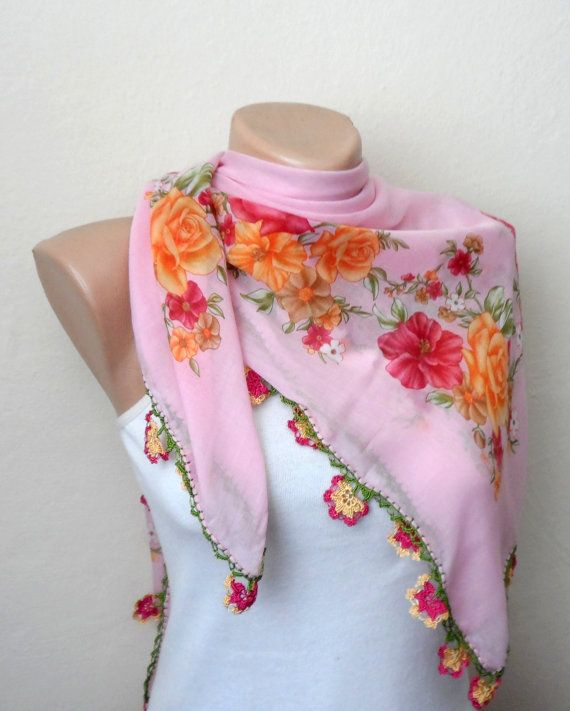 pink scarf orange flower green yellow white brown by DamlaScarf