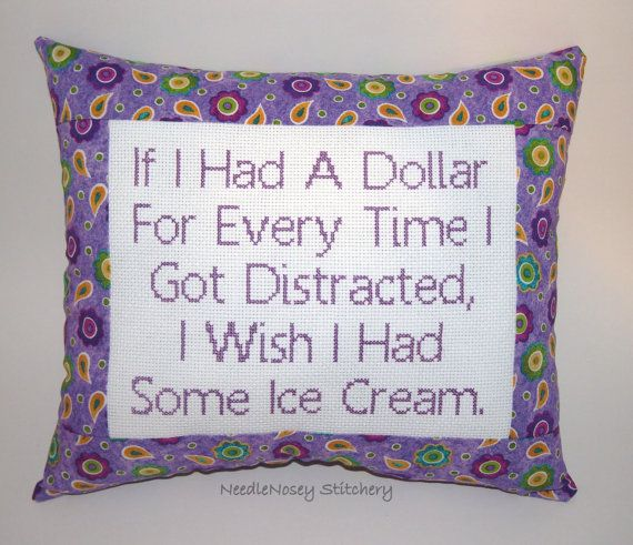 Funny Cross Stitch Pillow Purple Pillow Distracted by NeedleNosey,