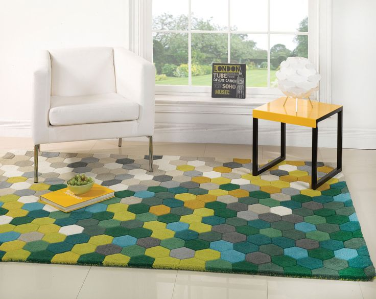 Details About XLarge Thick Wool Honeycomb Design Green Lime Rug 160 X 220 Cm 53 73